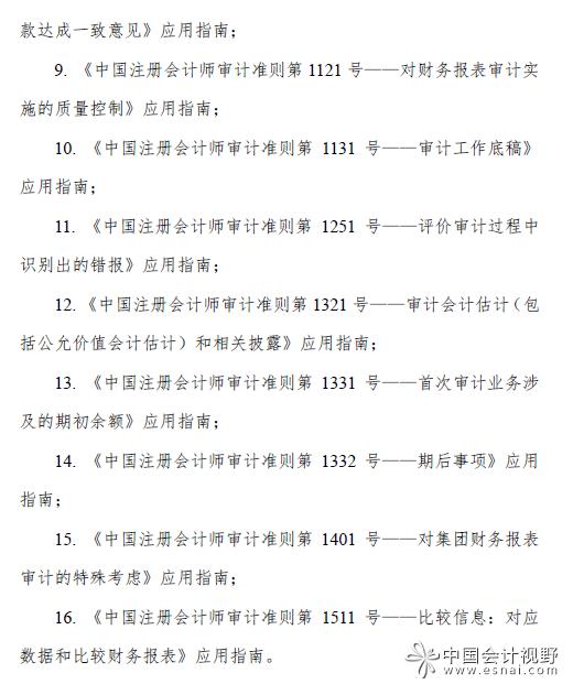 中注协发布16项审计准则应用指南